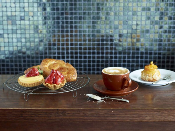 Pastries and coffee at Stefano's Cafe, Mildura