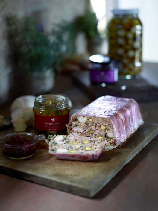 Antipasto mushrooms with pork terrine and a jar of Stefano's preserves