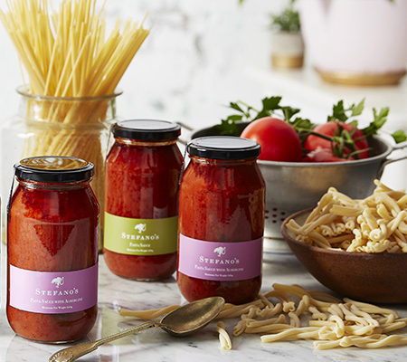 Jars of Stefano's pasta sauces
