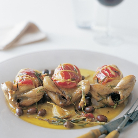 Roasted quail with small olives