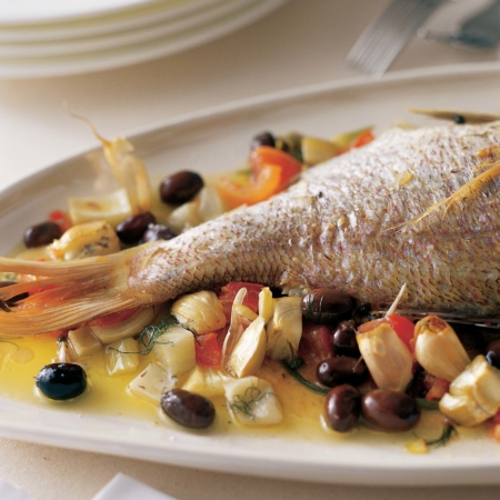 Roasted snapper with olives & fennel