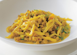 Strozzapreti with pork and saffron sauce