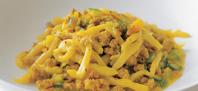 Strozzapreti with pork and saffron sauce