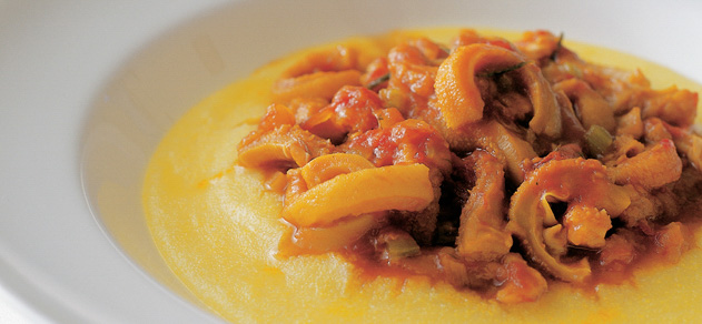 Yellow polenta with braised tripe